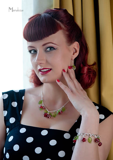 Miss Phoenix modelling Bow & Crossbones jewellery